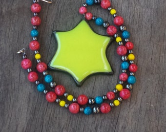 Glorious Bright Yellow Stained Glass Soldered Star Beaded Necklace by Indigo Mood