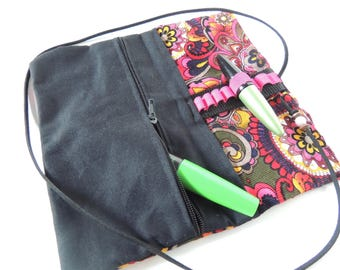 Pouch - with zipper - colorful - black - Upcycling