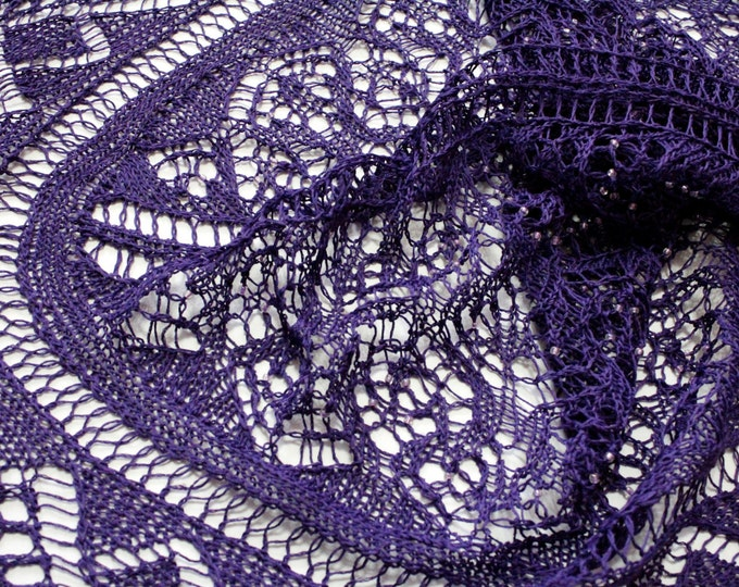 Shawl of Linen yarn with beads, purple color, shawl with beads, linen shawl, hand knit shawl, delicate shawl, knit shawl, knitted shawl