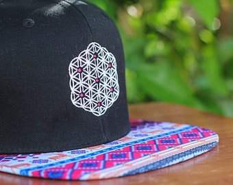 Flower of Life Sacred Geometry Aztec Brim Strapback Hat
