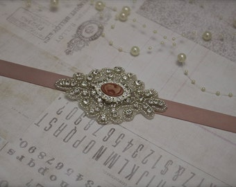 blush sash, vintage sash, Bridesmaid sash, bridesmaid belt, bridesmaid rhinestone belt, wedding belt, blush wedding belt, vintage blush belt
