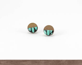 Surgical steel round stud earrings, Turquoise earrings, Geometric, Modern, Small wood stud earrings, Japanese Washi, Resin, Gifts for her