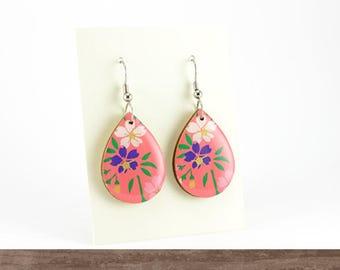 Vintage paper flower earrings, Pink, Wooden dangle earrings, Surgical steel, Casual earrings, Floral, Japanese Chiyogami, Teardrop laser cut