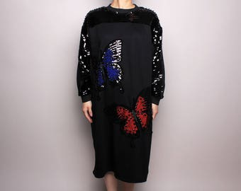 Butterfly Sequin Sweater Dress