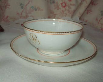 A pretty old China Cup white very thin, with its saucer monogrammed JB, 19 eme