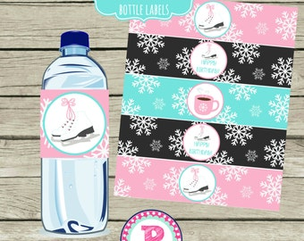 Ice Skating Party Drink Wraps Bottle Labels Aqua Pink Lace up Your Skates Snowflakes Winter Hot Cocoa