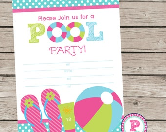 Pool Party Fill In the Blank style Birthday Party Invitation Instant Download Summer time Swimming Splish Splash 5x7
