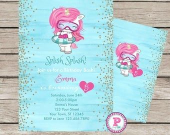 Unicorn Pool Party Splish Splash Watercolor Birthday Party Invitation Front Back Pink Blue Digital File Gold Glitter Brushstrokes Girl Pad