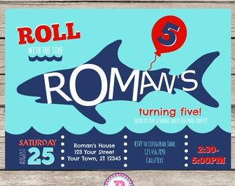 Shark Birthday Party Invitation Color Choices Red Orange or Green Roll with the Tide Shark Infested Pool Party Beach Summer Shark Attack