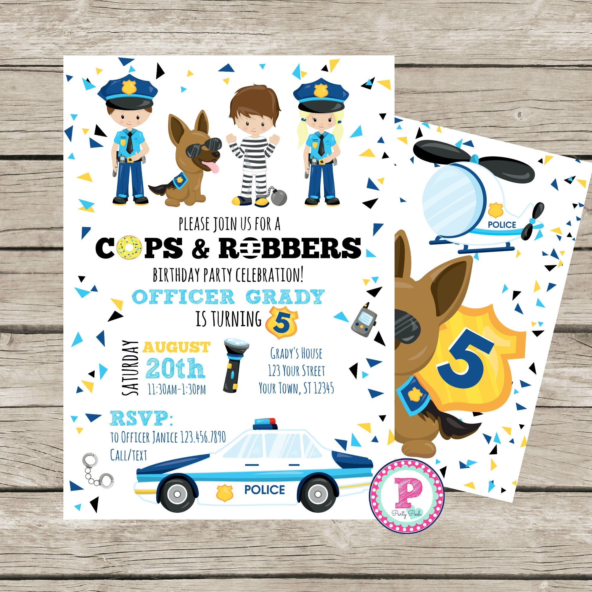 Police Birthday Party Invitation Cops Robbers Donut Puppy