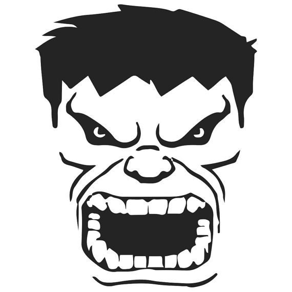 Vinyl decal sticker hulk mad decal inspired by the avengers for Incredible hulk face template