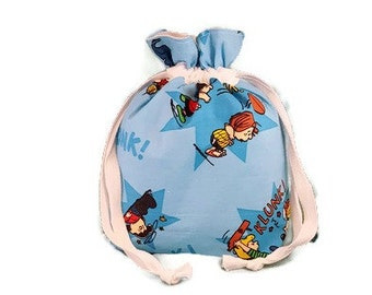 Knitting Project Bag Charlie Brown Peanuts Free Shipping**** Small Sock Drawstring Retro Vintage Snoopy Storage bag GIft Bag