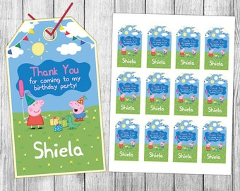 Peppa Pig Thank You Tags, Peppa Pig Favor Tags, Peppa Pig Gift Tags, Peppa Pig Tags, Peppa Pig Tag Printable, Peppa Pig Birthday Tags