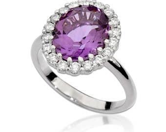 Amethyst and Diamond Ring, Purple Gemstone Ring, Amethyst Ring with Diamond Halo, Halo Diamond Ring, Anniversary Ring