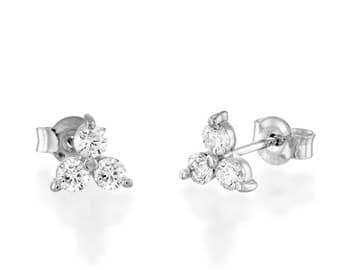 Diamond Clover Earrings, Diamond Earrings, Woman Stud Earrings, Three Diamonds Earrings ,Diamond Stud Earrings, Screw Back Diamond Earrings