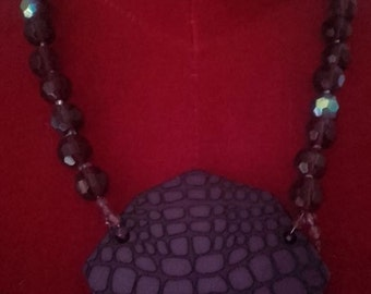 Purple pendant necklace with stones