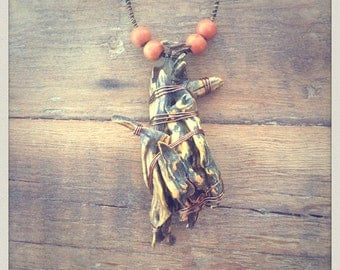 Wood necklace, Gorgon, Euryale, handmade, unique, johsua tree, repurposed, boho, witch, spirit