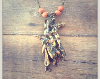 Wood necklace, Gorgon, Euryale, handmade, unique, johsua tree, repurposed, boho, witch, spirit