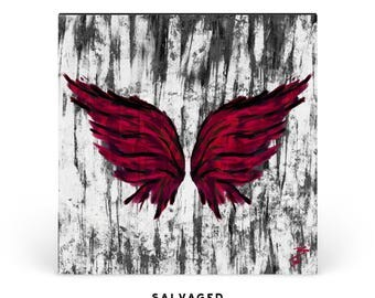 Square Red Crimson Wings Print | 12 x 12 | 24 x 24 | Wood Art Mounted Fine Art | Surreal Abstract Grunge | Home Decor | Metaprint