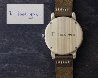 Actual Handwriting Wood Watch, Personalized Signature Wooden watch for Man, Custom Engrave, Wooden Wristwatch, Minimalist Watch Gift for Him