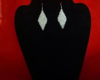 Silver Aluminum Chain Mail Earrings.