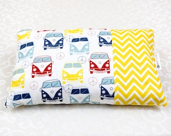 Yellow volkswagen van/chevron pillow