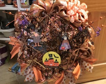 Fall Spider Web Deco Poly Mesh Wreath