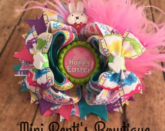 Super Cute 5 inch Easter Bunny Over the Top/Stacked Girls Boutique Style Hair Bow.