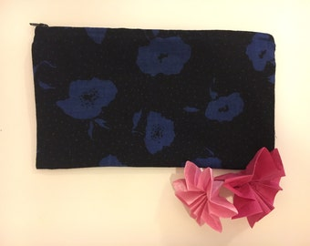 Classic blue and black floral purse made from ethically sourced vintage brushed cotton