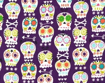 Purple bonehead fabric patchwork patterned fabric fun cotton fabric fabric of purple fabric American skulls
