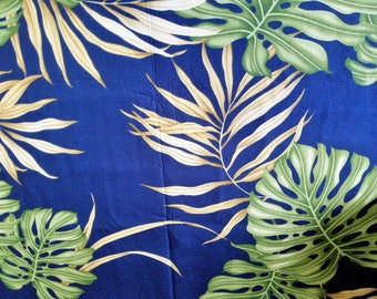 Blue leaves Hawaii fabric Hawaiian hawaiian fabric fabric flowers beach surf beach aloha flowers tiki cotton fabric flowers honolulu