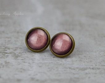 "Earring Studs in brown ""Bittersweet"", 12 mm / hand painted earrings - minimalistic, everyday jewelry"
