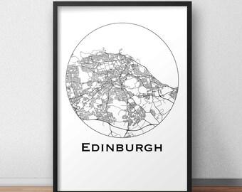 Poster map Edinburgh Scotland Minimalist Map (A4, A3, A2) - City map, post town, wall Decoration, city map, printing of Art