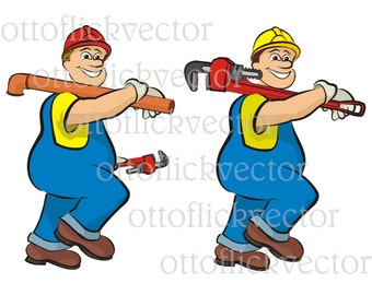 PLUMBER VECTOR CLIPART, plumbing cartoon eps, ai, cdr, png, jpg instant download, smiling plumber, men at work, construction clipart