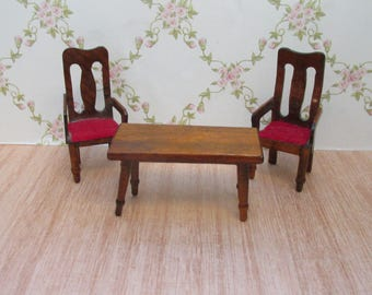Period Style Wooden Dolls House Two Chairs and  Occasional Table