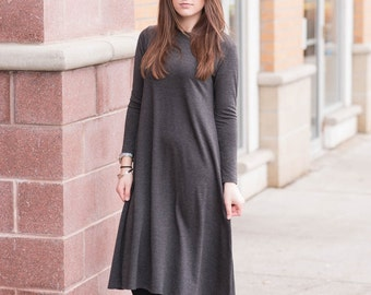 Midi dress, tunic, midi dress with sleeves, Brown, Modest dress, Modest Clothing,