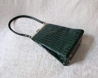 Evening handbag, wrist bag, vintage, faux leather, Croc