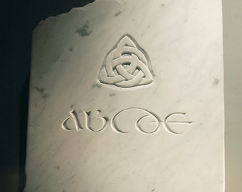 Celtic art marble Celtic alphabet stone with hand chiseled celtic letters wall sculpture stone carving marble sculpture celtic knot marble