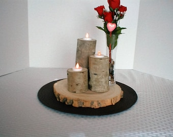 Aspen Three Log Candle Holder, Handcrafted, Candle Holder, Log Slice, Wood Slice, Fall Decor, Anniversary, Rustic, Wedding, Cabin Decor