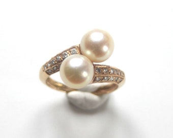 French Toi & Moi ring cream pearls