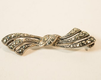 Silver brooch with marcasite, jewellery, 1950s