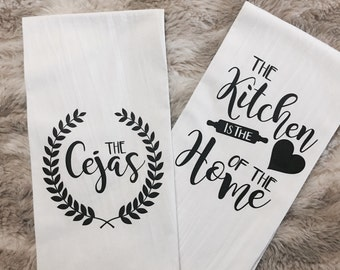 Personaliezd Flour Sack Dish Towels- Personalized Bridal Gift- Personalized Wedding Gift
