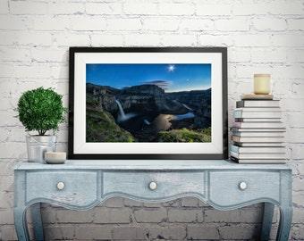 Palouse Falls, Wall art, photograph, waterfall picture, landscape Washington stars, caynon