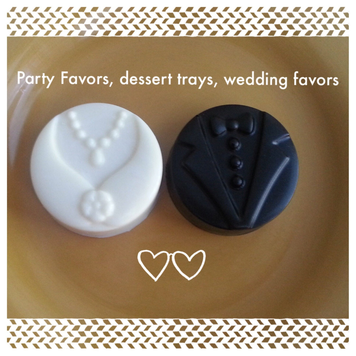 50 Bride and Groom Chocolate Covered Oreos bridal shower favors