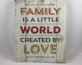 Family Is A Little World Created By LOVE Canvas Quote 11x14