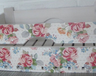 WOODEN CRATE ROSES, handmade wooden crate, wooden storage boxes, gift ideas, home decorations, decoupage crate, personalized crate