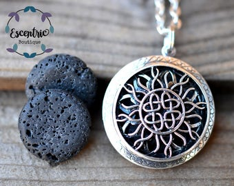 Infinity Heart Lava Stone Essential Oil Diffuser Necklace // With a Choice of Essential Oil(12 Variety)