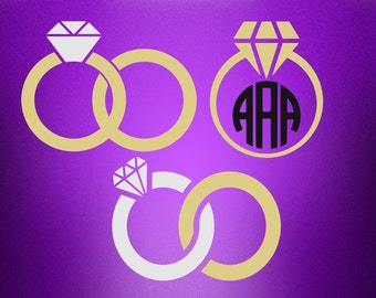 Ring wedding monogram svg, Wedding svg, Ring monogram svg, Bride svg,  SVG Files, Cricut, Cameo, Cut file, Clipart, Svg, DXF, Png, Eps