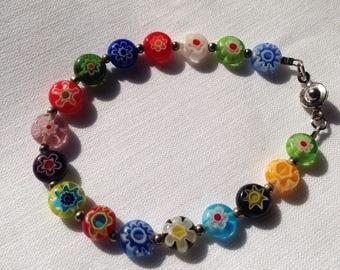 Vintage millefiori bead bracelet