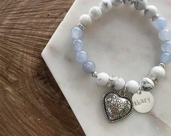 Personalised Handstamped Aquamarine X Marble Bracelet